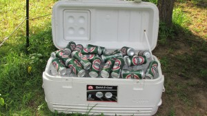 Not everyone gets to see the coolers overflowing with beer so I got a picture.  It looks like a delicious treasure chest!