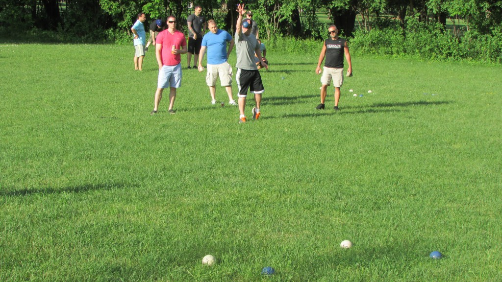 Great weather + slightly longer grass = epic bocce.